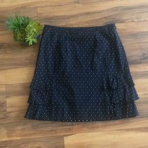 LOFT Black/White Polka-a-Dot Midi Skirt w/Ruffles